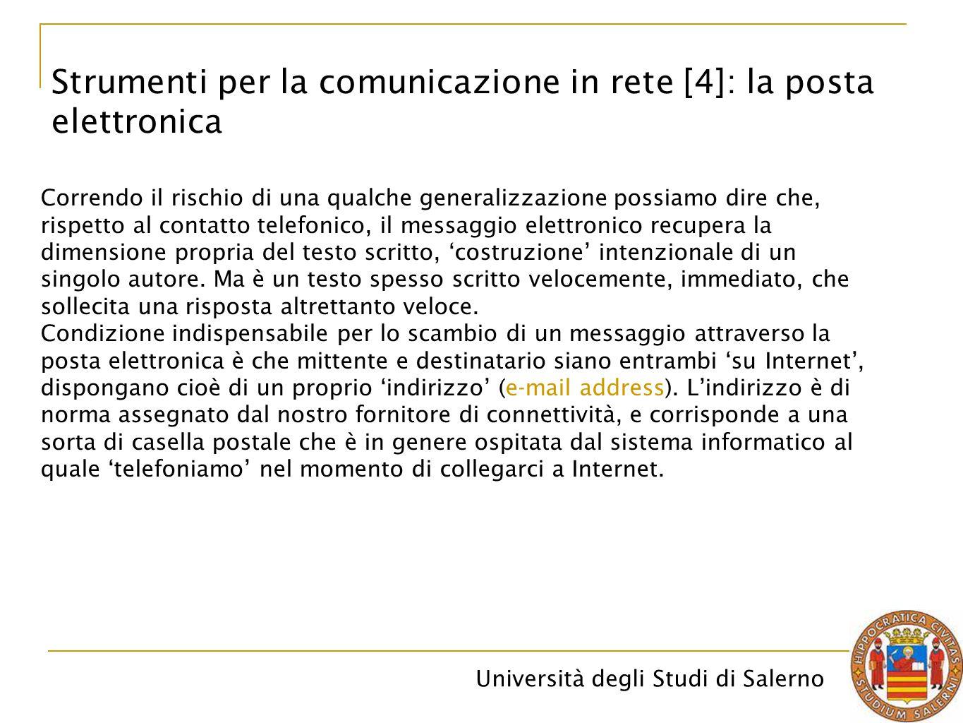 Strumenti per la comunicazione in rete [4]: la posta elettronica